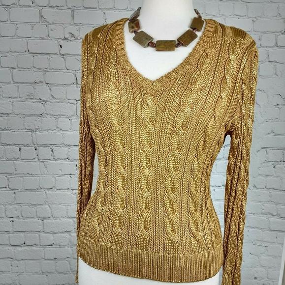 6ad98e317056a Lauren Ralph Lauren Sweaters - Lauren Ralph Lauren metallic cable knit  sweater L
